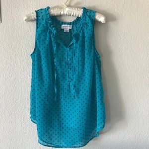 Liz Claiborne Sleeveless Blouse Blue/Blue Dots Tie